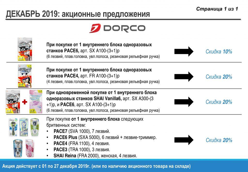 Акция на бритвы DORCO декабрь 2019