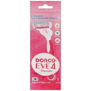 DORCO EVE 4 одноразовый бритвенный станок для женщин (1 шт) 4 лезвия, плавающая головка, увлажняющая полоска, резиновое покрытие ручки, артикул FRA 200-1p, mirbritv.ru