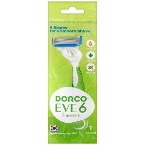DORCO EVE 6 одноразовый бритвенный станок для женщин (1 шт) 6 лезвий, плавающая головка, увлажняющая полоска, резиновое покрытие ручки, SXA 300-1p, mirbritv.ru