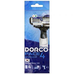 DORCO PACE 4 одноразовый станок для бритья (1 шт) 4 лезвия, плавающая головка, увлажняющая полоса, резиновое покрытие ручки, DORCO FRA 100-1p, www.MIRBRITV.ru