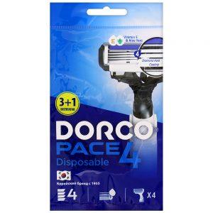 DORCO PACE 4 одноразовый станок для бритья (3+1 шт Бесплатно) 4 лезвия, плавающая головка, увлажняющая полоса, резиновое покрытие ручки, DORCO FRA 100-3+1p, www.MIRBRITV.ru