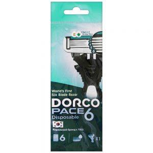 DORCO PACE 6 одноразовый станок для бритья (1 шт) 6 лезвий, плавающая головка, увлажняющая полоса, резиновое покрытие ручки, DORCO SXA 100-1p, www.MIRBRITV.ru