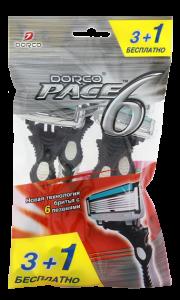 DORCO Pace 6 (3+1 бесплатно) станки для бритья одноразовые ДОРКО
