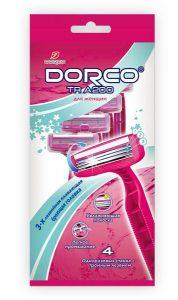 DORCO TRA 200W женский одноразовый станок для бритья (4 шт.), 3 лезвия, плавающая головка, увлажняющая полоса, MIRBRITV.RU