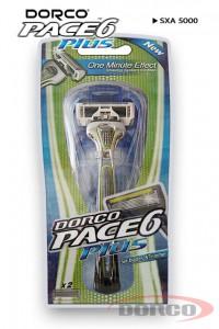 DORCO PACE 6 PLUS бритвенный станок, 6 лезвий + 1 лезвие-триммер (2 кассеты) DORCO SXA 5000, MIRBRITV.RU