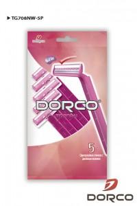 mirbritv.ru DORCO TG 708W женские одноразовые станки для бритья (5 шт) 2 лезвия, увлажняющая полоска с алоэ, www.MIRBRITV.ru