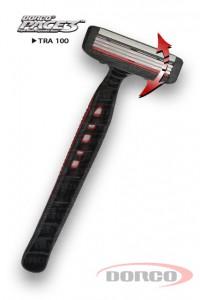 DORCO PACE 3 одноразовый станок для бритья, 3 лезвия, плавающая головка, увлажняющая полоса с алоэ, резиновое покрытие ручки, DORCO TRA 100, www.MIRBRITV.RU
