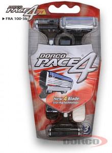DORCO PACE 4 одноразовые станки (3 шт) 4 лезвия, плавающая головка, увлажняющая полоса, резиновое покрытие ручки, DORCO FRA 100-3b, www.MIRBRITV.ru