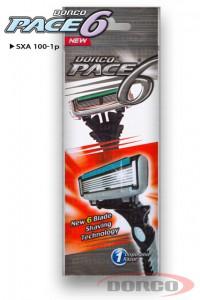 DORCO PACE 6 одноразовый станок (1 шт) 6 лезвий, плавающая головка, увлажняющая полоса, резиновое покрытие ручки, DORCO SXA 100-1p, www.MIRBRITV.ru