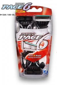 DORCO PACE 6 одноразовые станки (3 шт) 6 лезвий, плавающая головка, увлажняющая полоса, резиновое покрытие ручки, DORCO SXA 100-3b, www.MIRBRITV.ru