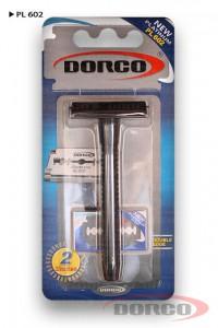 DORCO PL 602 Классический бритвенный станок + 2 лезвия DORCO Platinum, www.MIRBRITV.RU