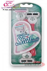 DORCO Shai vanilla 4 женский бритвенные станки (3 шт) 4 лезвия, плавающая головка, увлажняющая полоска, резиновое покрытие ручки, www.MIRBRITV.ru