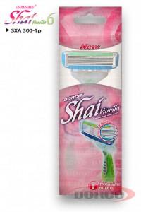 DORCO Shai vanilla 6 женский бритвенный станок (1 шт) 6 лезвий, плавающая головка, увлажняющая полоска, резиновое покрытие ручки, www.MIRBRITV.ru