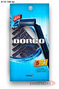DORCO TD 708 одноразовые станки (5+1 шт), (6 шт) 2 лезвия, mirbritv.ru