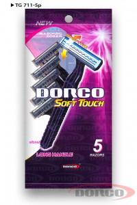 DORCO TG 711 Soft Touch одноразовые станки (5 шт) 2 лезвия, плавающая головка, увлажняющая полоска с алоэ, mirbritv.ru