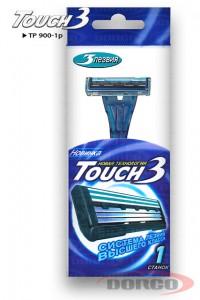 DORCO Touch 3 одноразовый станок (1 шт) 3 лезвия, плавающая головка, увлажняющая полоска с алоэ, DORCO TP 900-1p, www.MIRBRITV.RU