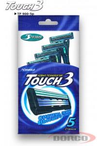 DORCO Touch3 одноразовые станки (5 шт) 3 лезвия, плавающая головка, увлажняющая полоса, для чувствительной кожи, DORCO TP 900-3p, www.MIRBRITV.RU