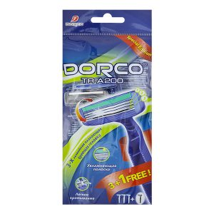 DORCO TR A200 бритвенные станки, 3 лезвия, плавающая головка, увлажняющая полоска с алоэ, MIRBRITV.RU