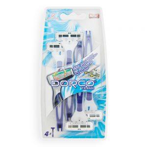 DORCO TRA400 одноразовые станки для бритья, 3 лезвия, плавающая головка, увлажняющая полоса, резиновый микрогребень, прорезиновое покрытие ручки, www.MIRBRITV.ru