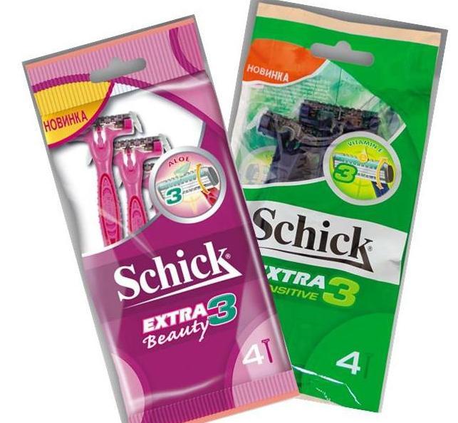 одноразовые станки для бритья schick extra3