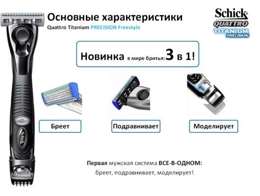 Schick станок Quattro Titanium Precision Freestyle
